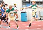 Cobra Mason Hamilton (shown above, at right) hands the baton off to teammate Korby Strube (left) during a preliminary race of the 4x400m relay at state track in Wichita this past weekend.