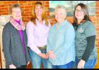 Employees at the Meadowlark Extension District office in Holton include (from left) Nancy Nelson (family and child development agent), Cara Robinson (4-H program manager), Jody Holthaus (livestock and natural resources agent)  and Chasity Rickel (district office professional).
