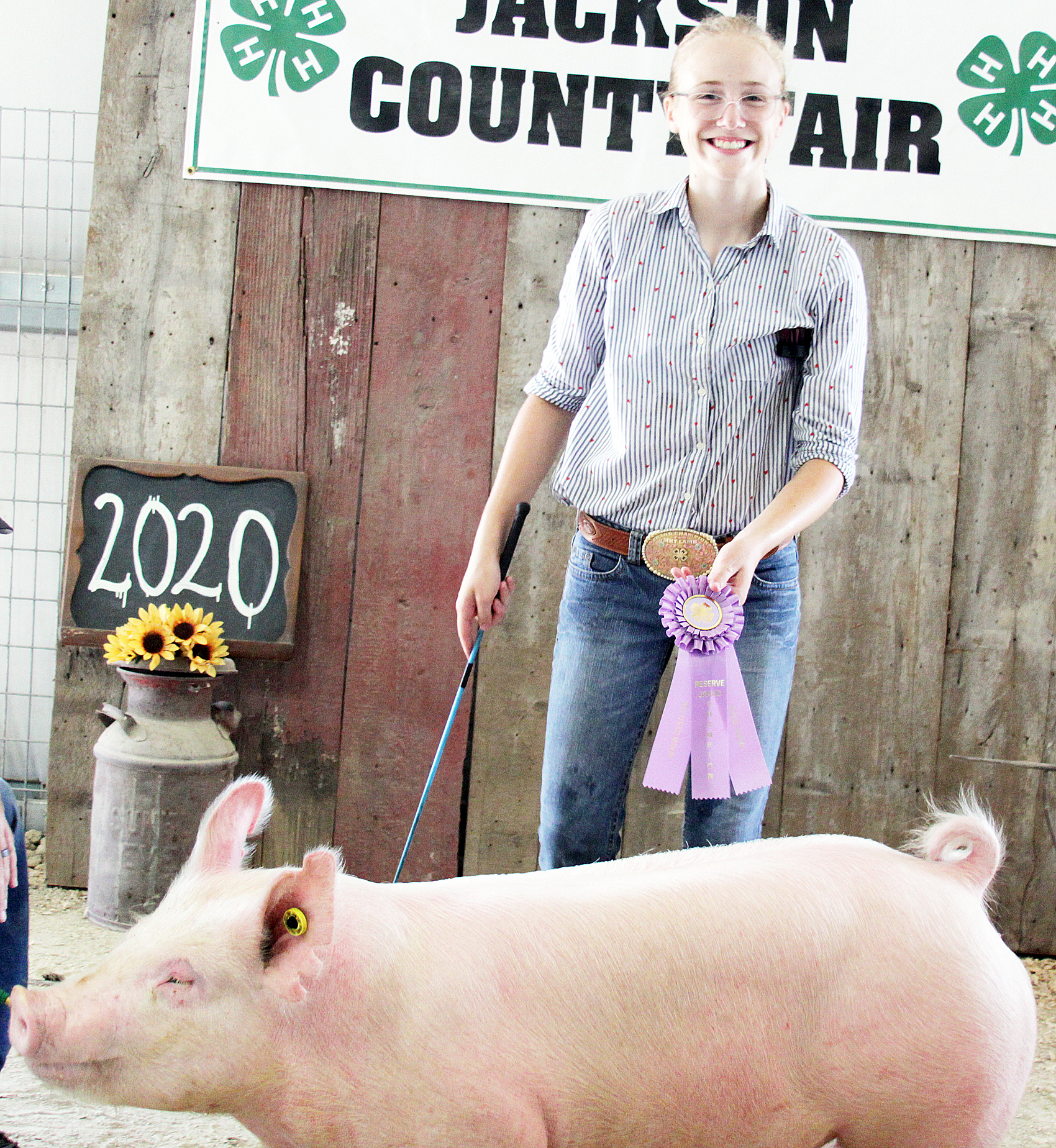Lora Larison of the Pleasant Valley Rustlers 4-H Club was named Reserve Champion intermediate hog showman at the 2020 Jackson County Fair.