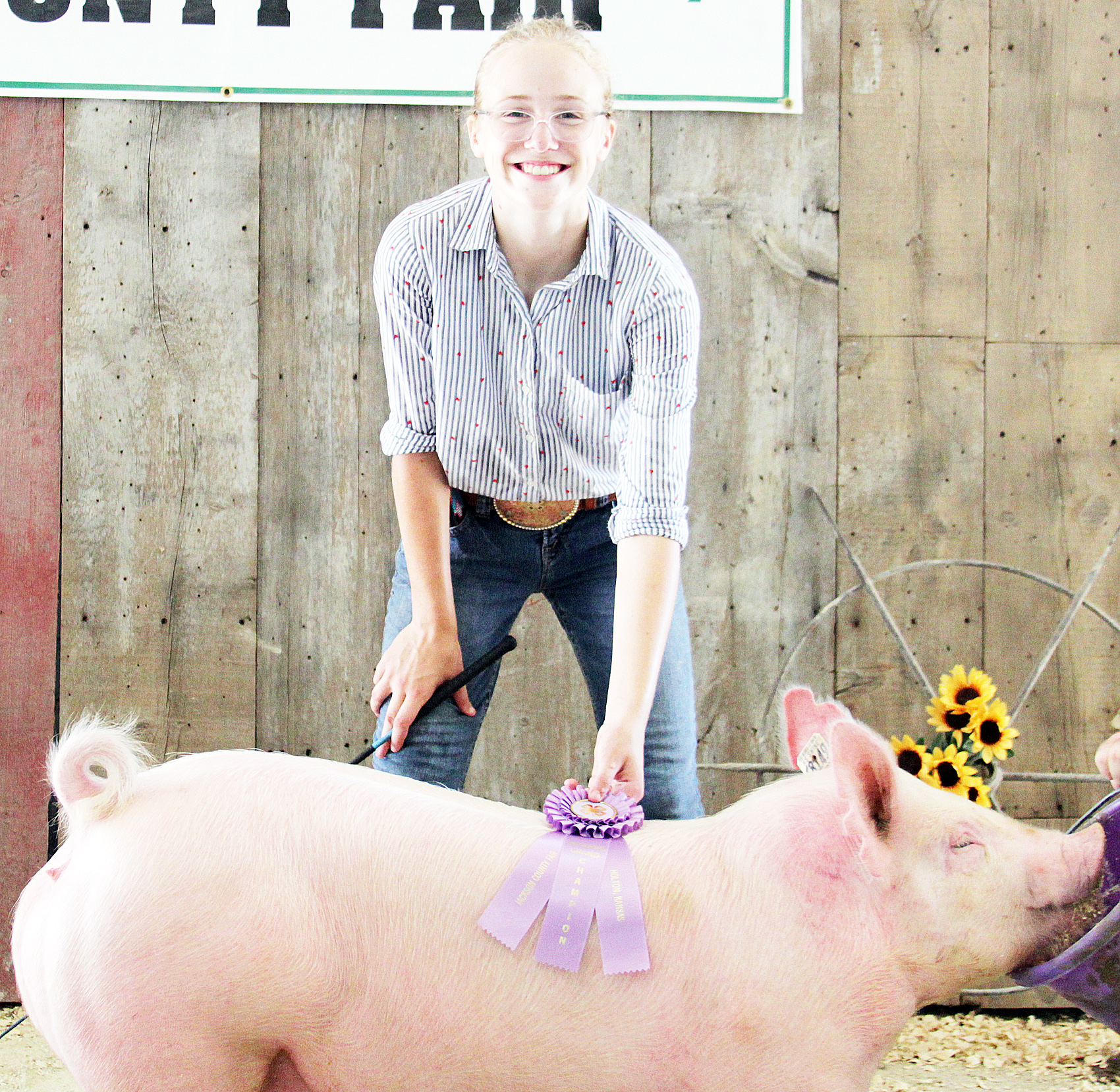 Lora Larison of the Pleasant Valley Rustlers 4-H Club showed the Reserve Champion Yorkshire market hog at the 2020 Jackson County Fair.