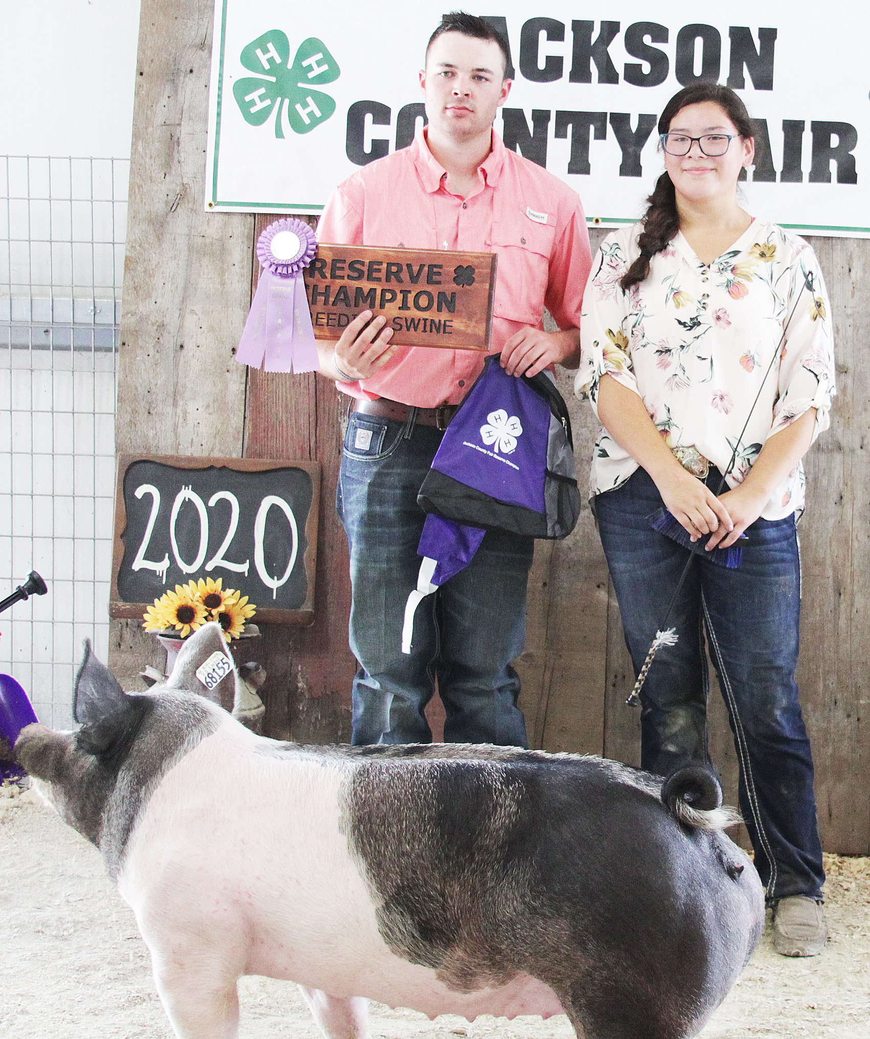 Kailei Mitchell of the Mayetta Mustangs 4-H Club showed the Reserve Grand Champion overall breeding gilt at the 2020 Jackson County Fair.
