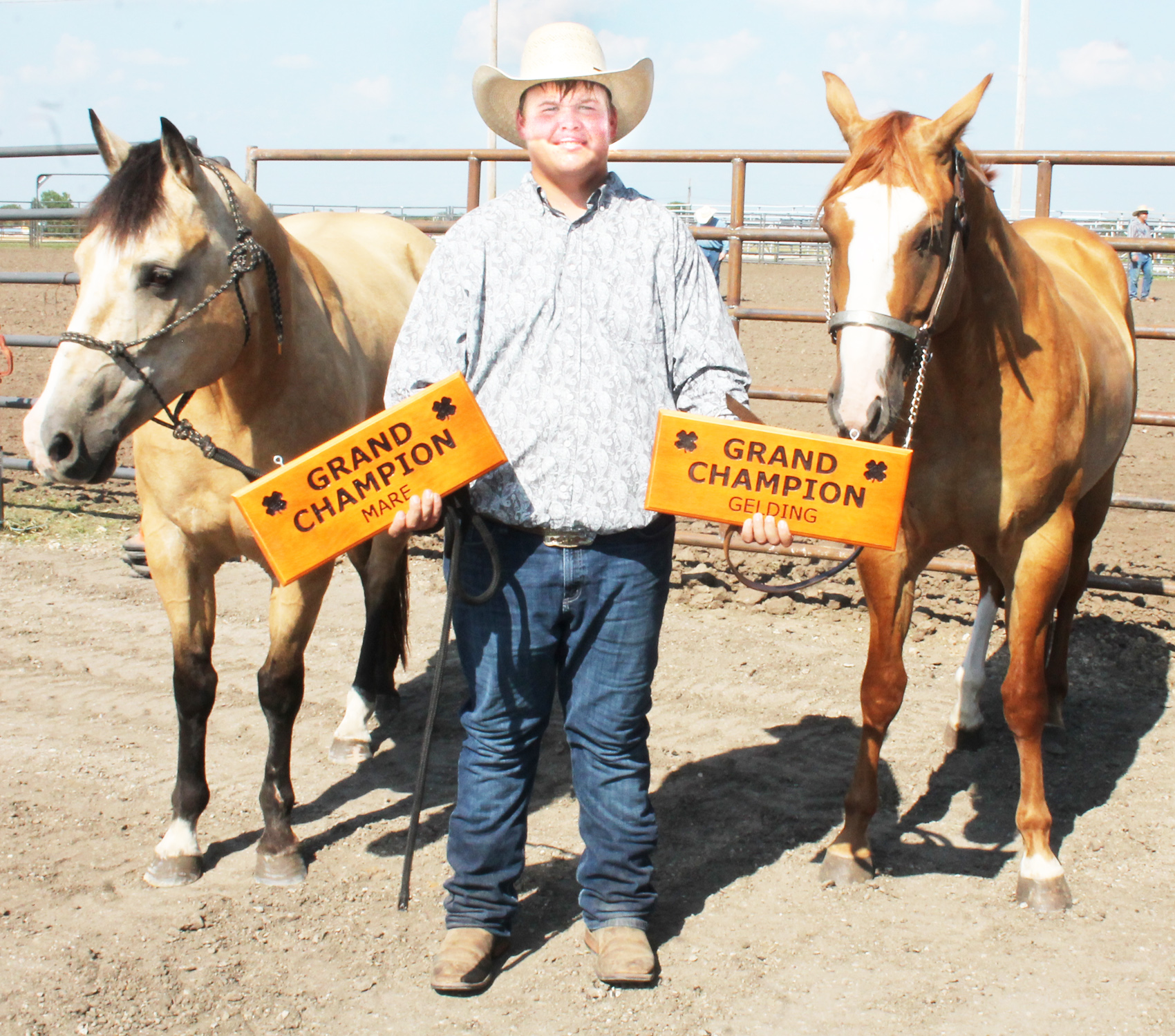 Dakota Abel of the Soldier Boosters showed the top two horses in this year's horse show, the grand champion gelding, at right, and the grand champion mare.
