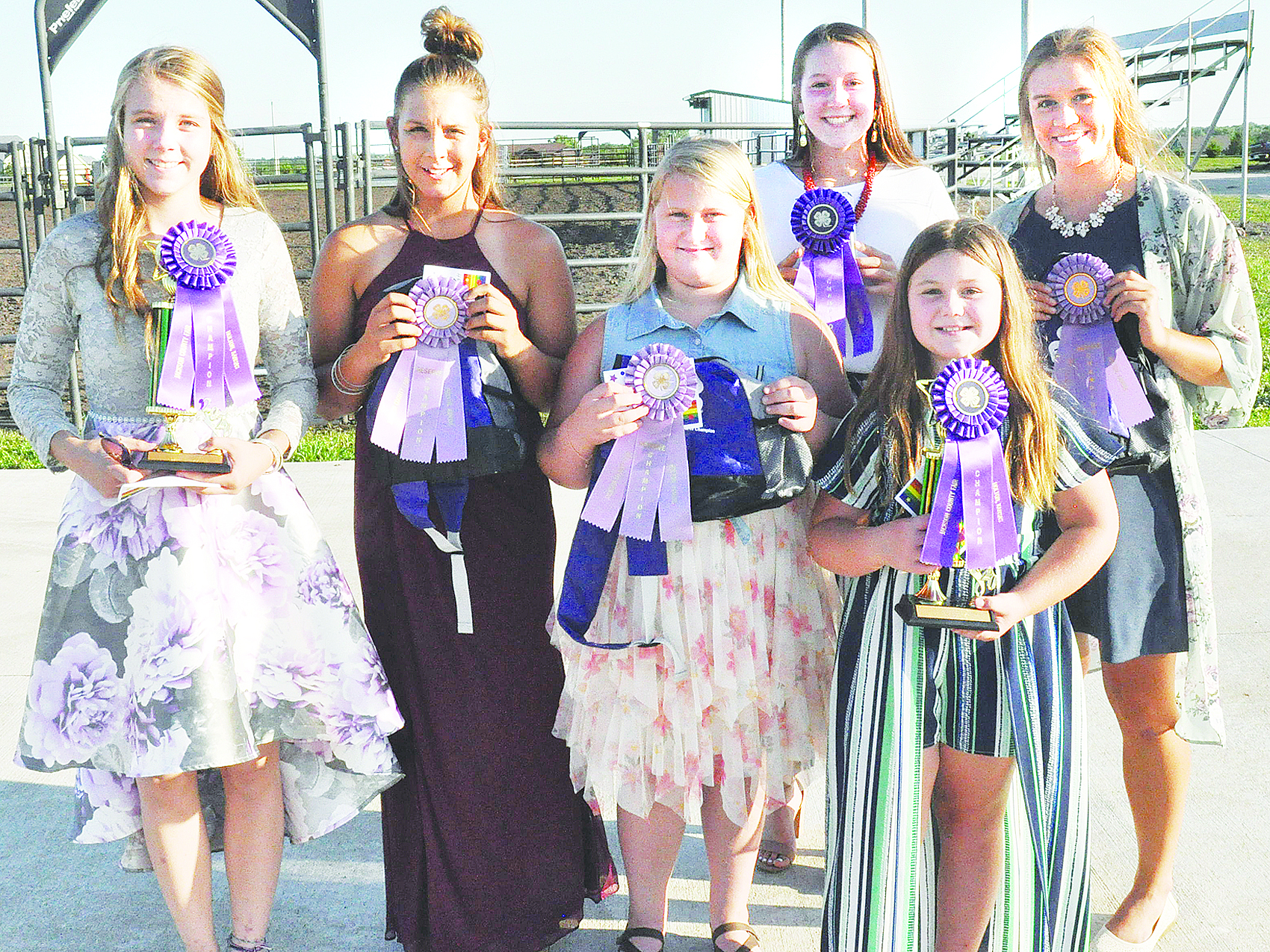 Girls clothing buymanship champions at this year's Jackson County Fair are shown above and include (front row, from left) Kennedy Tannahill (junior reserve champion), MaKenna Tyler (junior champion), (back row, from left) Shayla Rezac (intermediate champion), Savannah Cattrell (intermediate reserve champion), Karlie Albright (senior champion) and MaKenzie Kennedy (senior reserve champion). (Photo by Ali Holcomb)