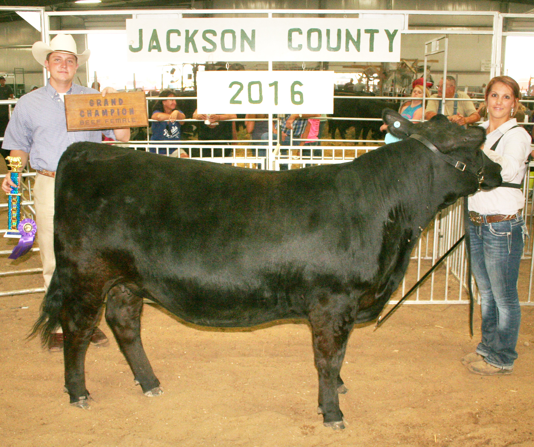 The grand champion heifer in the beef show was this Angus yearling shown by Brianna Cattrell (right) of the Soldier Boosters. Assisting Brianna is horse show judge Brady Jenson. (Photo by Brian Sanders)
