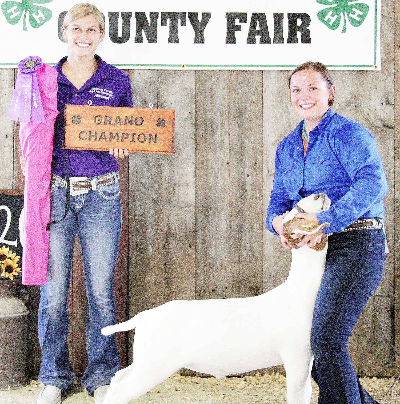 Jerilyn Nelson of the Pleasant Valley Rustlers 4-H Club showed the Grand Champion over all market goat at the 2020 Jackson County Fair.