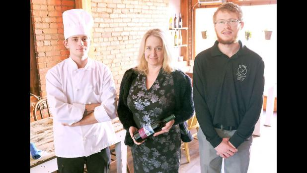 The Oak Roots restaurant at Hotel Josephine is open, offering breakfast, lunch and dinner. The restaurant is open from 7:30 a.m. to 11 p.m. seven days a week. Shown in the photo above in the restaurant's dining area are (from left) Chef Aspen Cripps, Sara Fox (hotel owner) and Tracer Fox (hotel manager). (Photo by Ali Holcomb)
