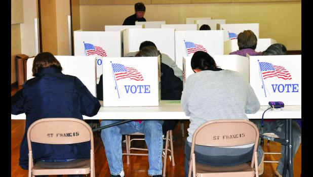 A steady stream of voters filed in and out of St. Francis Xavier Catholic Church in Mayetta on Tuesday evening, which is the designated voting location for those residing within city limits or Cedar or Lincoln Townships. Many people voted after work before the polls closed at 7 p.m.