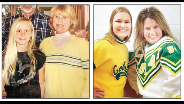 In the photo at above left, Royal Valley High School senior Jessica Rose (left), who received first place in The Hol ton Recorder's Mother's Day essay contest, is shown with her mother, Sheri, who died in March. And in the photo at above right, Jackson Heights High School freshman Mallori Mulroy (left), named honorable mention in the contest, is shown with her mother, Janice.