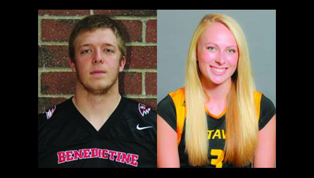 Benedictine's Bryce Barnett (shown above, at left) and Ottawa's Christa Hill (right) were selected as the first ever recipients of the Riederer family college scholar athlete award.