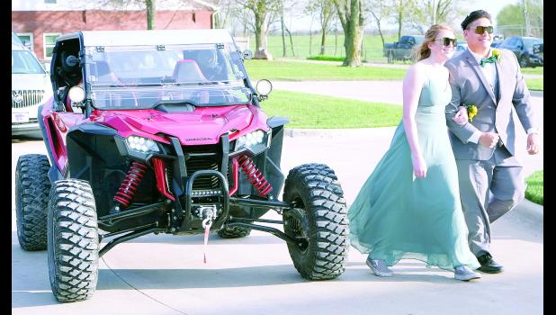 Sarah Marshall and Taylor Wamego arrived at the Jackson Heights prom in a 2019 Honda Talon 1000-R driven by Marshall.