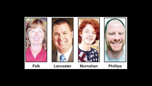 Four candidates are seeking the position four seat on the Holton Board of Education during the Aug. 3 primary election, including (left to right) Rochelle Falk, Zachary Lancaster, Simon Murnahan and Ryan Phillips.