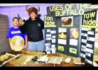 The many uses of buffalo were outlined at this history fair display organized by Royal Valley seventh-grade students Curtis Masquat (left) and Dane Spoonhunter. More than 50 history fair projects were on display during the annual fair held Friday at Royal Valley Middle School in Mayetta.