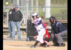 Panther Sarah Beam (shown above, batting) turns on a pitch and sends it for a ride in the second game of a doubleheader with Hiawatha, helping RV pick up a 15-0 run-rule victory over the Red Hawks and its 12th win in a row.