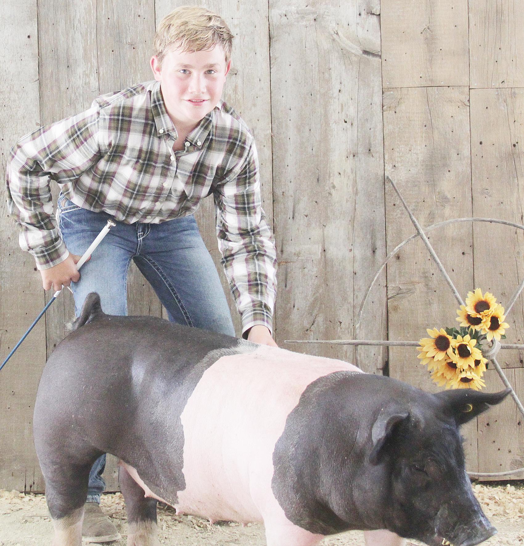 Reece Burns of the Straight Arrows 4-H Club was named Champion intermediate hog showman at the 2020 Jackson County Fair.