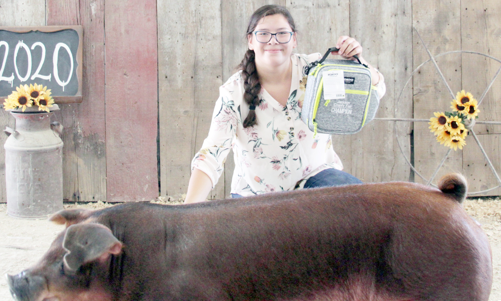 Kailei Mitchell of the Mayetta Mustangs 4-H Club showed the Champion Duroc market hog at the 2020 Jackson County Fair.